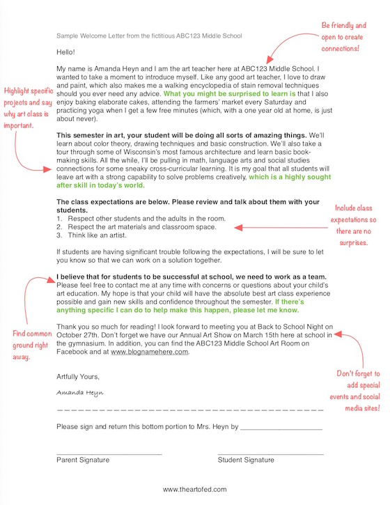 How a Single Sheet of Paper Can Impact Your Art Program - The Art of Ed - sample welcome letter