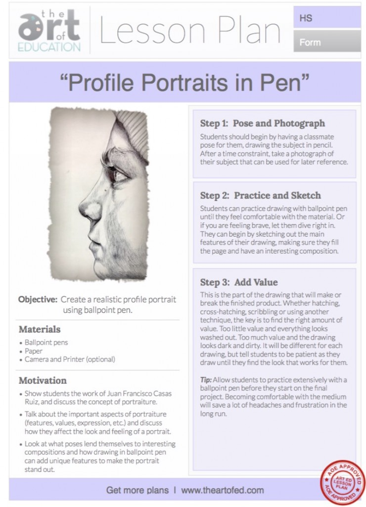 Profile Portraits in Pen Free Lesson Plan Download - The Art of Ed