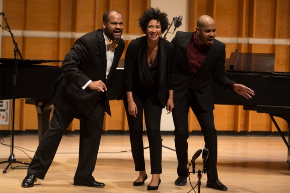 """James Martin, Julia Bullock and Darius De Haas as they appeared in New York Festival of Song's """"Harlem Renaissance"""" (Photo credit:"""" Matthew Murphy)"""