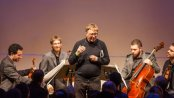 Composer Georg Friedrich Haas and JACK Quartet as they appeared on February 24, 2015 (Photo credit: Karli Cadel Photography)