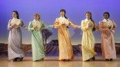 "Carolina Sanchez, Karyn Quackenbush, Cindy Cheung, Annie McNamara and April Matthis in a scene from the new musical ""Iowa"" at Playwrights Horizons (Photo credit: Joan Marcus)"