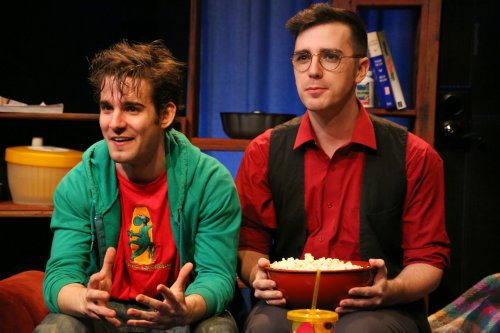 """Joe Boover and Cody Keown in a scene from """"Popcorn"""" by Scott C. Sickles (Photo credit: Gerry Goodstein)"""