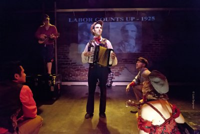 """Nathaniel P. Claridad, Kendall Rileigh, Perri Yaniv (on the accordion), Cliff Miller and Lorrine Lampert in a scene from """"Injunction Granted"""" (Photo credit: Lois Segman)"""