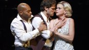 """Brandon Victor Dixon, Stephen Pasquale and Sutton Foster and in a scene from """"The Wild Party"""" (Photo credit: Joan Marcus)"""