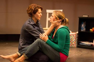 """Sofia Jean Gomez and Rebecca Brooksher in a scne from """"Would You Still Love Me If…"""" (Photo credit: Len Prince)"""