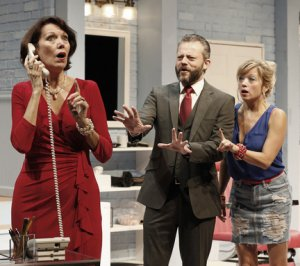 "Lynne Wintersteller, Jeremy Kushnier and Kate Middleton in a scene from the New York production of ""Shear Madness"" (Photo credit: Carol Rosegg)"