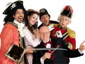 """David Wannen, Sarah Caldwell Smith, David Auxier, James Mills and conductor Albert Bergeret (seated) in a scene from """"The Pirates of Penzance"""" (Photo credit: William Reynolds)"""