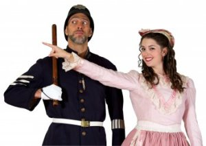 """David Auxier as the Sergeant of Police and Sarah Caldwell Smith as Mabel in a scene from """"The Pirates of Penzance"""" (Photo credit: William Reynolds)"""