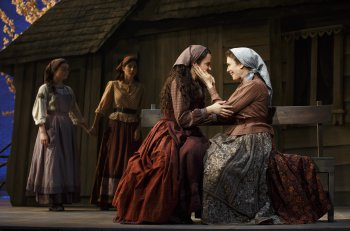 "Melanie Moore, Samantha Massell, Alexandra Silber and Jessica Hecht as Golde in a scene from ""Fiddler on the Roof"" (Photo credit: Joan Marcus)"