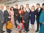 """Entire cast backstage surround creator/writer/host Scott Siegel (center) after """"Broadway by the Year: The 1930's"""" on February 22, 2016 (Photo credit: Maryann Lopinto)"""