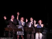 """Rob Evan, Joanne Borts, Steve Rosen and Rachel Klein as they appeared in from """"From Moses to Mostel: A History of the Jews"""" at The Town Hall (Photo credit: Stephen Sorokoff)"""