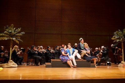 """Sherezade Panthaki, Timothy McDevitt, Owen McIntosh and Sarah Bailey in a scene from American Classical Orchestra's production of """"L'Isola Disabitata""""(Photo credit: Arlette Landestoy)"""