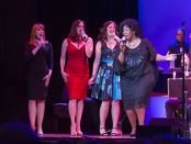 """Emily Skinner, Julia Murney, Lindsay Mendez and NaTasha Yvette Williams as they appeared in 92Y's Lyrics & Lyricists Series: """"Everything's Coming Up Ethel: The Ethel Merman Songbook"""" (Photo credit: Richard Termine)"""