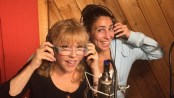 "Rita McKenzie and Kim Marasca recording ""Ruthless! The Musical"" (Photo credit: Scott Stander)"