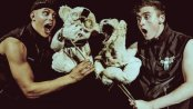 "Aaron Hefferman and Eoghan Quinn with puppets in a scene from ""Bears in Space"" (Photo credit: Idil Sukan)"