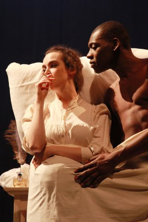 """Jane Bradley and Demetrius Stewart as Mary and Percy Shelley in a scene from """"Phantasmagoria; or, Let Us Seek Death!"""" (Photo credit: Theo Cote)"""