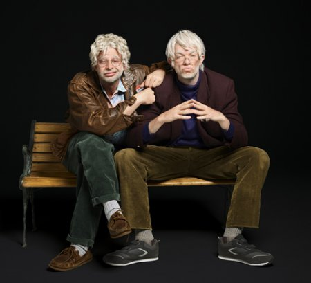 "Nick Kroll and John Mulaney in a scene from ""Oh, Hello on Broadway"" (Photo credit: Peter Yang)"