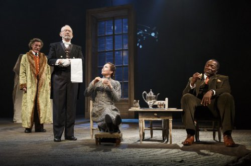 """John Glover, Joel Grey, Diane Lane and Chuck Cooper in a scene from """"The Cherry Orchard"""" (Photo credit: Joan Marcus)"""