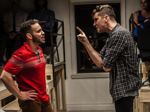 "Robin De Jesús and Michael Urie in a scene from ""Homos, Or Everyone in America"" (Photo credit: Monique Carboni)"