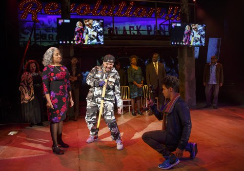 "Sophia Ramos, William Ruiz a.k.a Ninja and Christopher Livingston in a scene from ""Party People"" (Photo credit: Joan Marcus)"