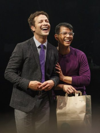 """Justin Guarini and Telly Leung in a scene from of """"In Transit"""" (Photo credit: Joan Marcus)"""