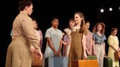 """Emily McAleesjergins as MP Peggy (far left) and Laura Osnes as Mary Brown and cast in a scene from """"Blueprint Specials"""" (Photo credit: Ryan Jensen)"""