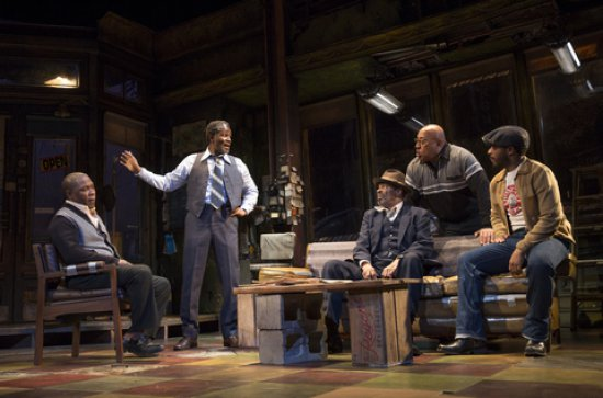 "Michael Potts, John Douglas Thompson, Anthony Chisholm, Keith Randolph Smith and André Holland in a scene from August Wilson's ""Jitney"" (Photo credit: Joan Marcus)"