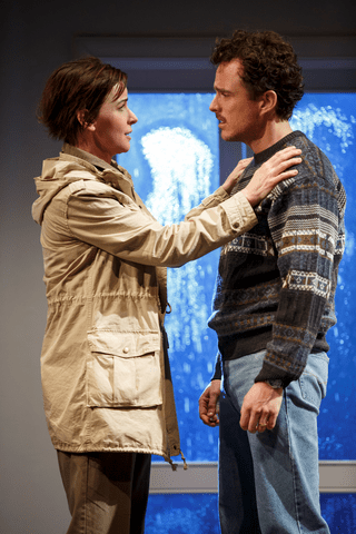 """Jacqueline McKenzie and Chris Ryan in a scene from The Sydney Theatre Company's production of """"The Present"""" (Photo credit: Joan Marcus)"""