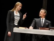 """Kersti Bryan as Katie Von Bora and Paul Schoeffler as The Devil in a scene from """"Martin Luther on Trial"""" (Photo credit: Joan Marcus)"""