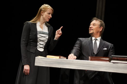 "Kersti Bryan as Katie Von Bora and Paul Schoeffler as The Devil in a scene from ""Martin Luther on Trial"" (Photo credit: Joan Marcus)"