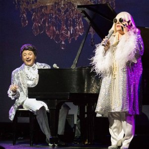 David Maiocco & Chuck Sweeney as Liberace & Peggy Lee. Photo: David Kent