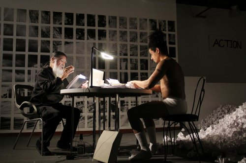 "Agosto Machado and John Guttierez in a scene from Robert Patrick's ""Hi-Fi 