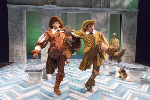 """Tony Roach, Christian Conn and Carson Elrod in a scene from David Ives' """"The Liar"""" (Photo credit: Richard Termine)"""
