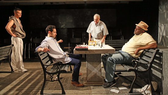 "Gardiner Comfort, José Joaquín Pérez, Ed Setrakian and Shawn Randall in a scene from ""Fish Men"" (Photo credit: Carol Rosegg)"