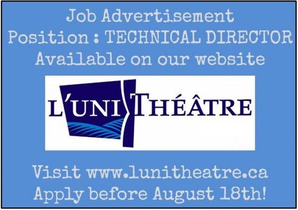 Job (Edmonton) Technical Director u2013 Lu0027UniThéâtre Theatre Alberta - technical director job description