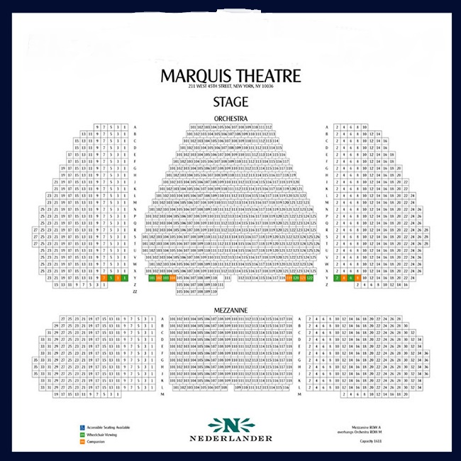 Marquis Theatre - Seating Chart and access information