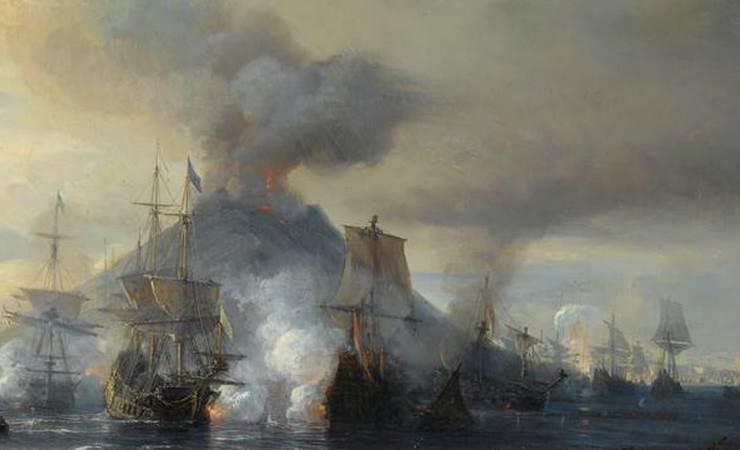 Détail du combat naval en vue de l'île de Stromboli, 8 janvier 1676. Huile sur toile de Théodore Gudin.
