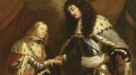 Détail de l'allégorie du Traité de Nimègue : Entrevue de Louis XIV et de Charles II d'Espagne, scellant leur alliance sous la bénédiction du Saint-Esprit.