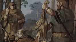Le roi d'Irlande Brian Boru regardant la tête décapitée d'un guerrier viking.