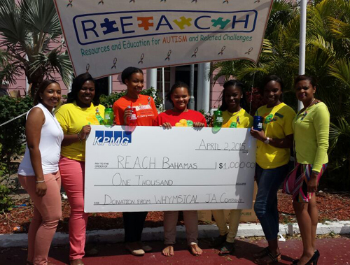 thebahamasweekly - Bahamas Junior Achievers Light it Up Blue\u200f - junior achievement bahamas