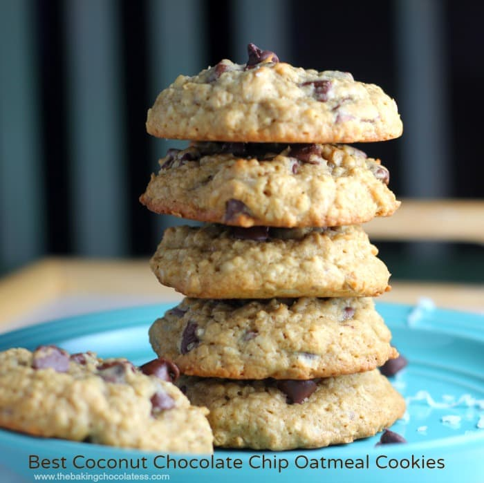 Best Coconut Chocolate Chip Oatmeal Cookies – The Baking ChocolaTess
