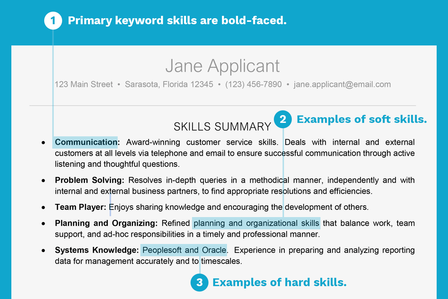 examples of primary skills and secondary skills in resume