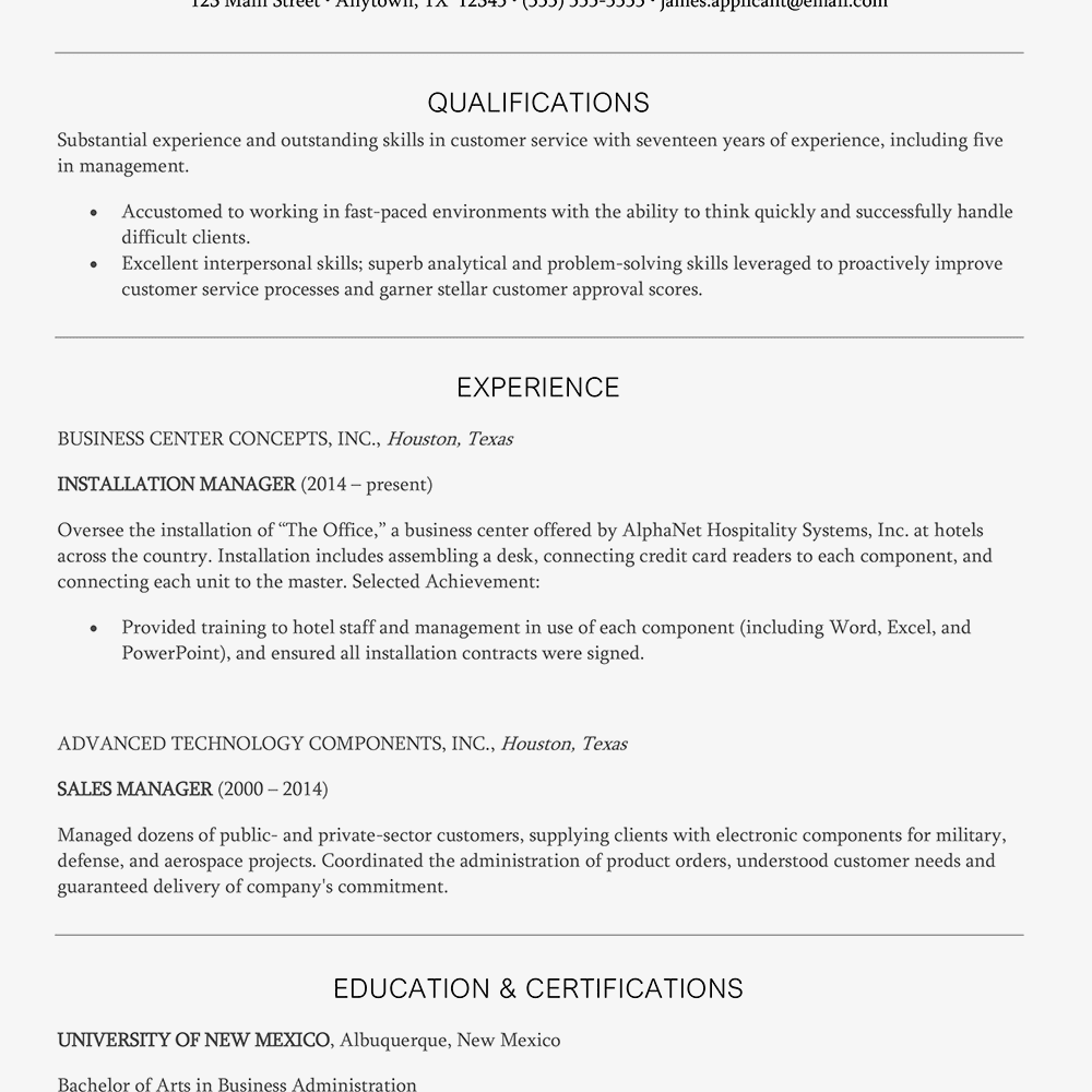 dealing with customer resume example