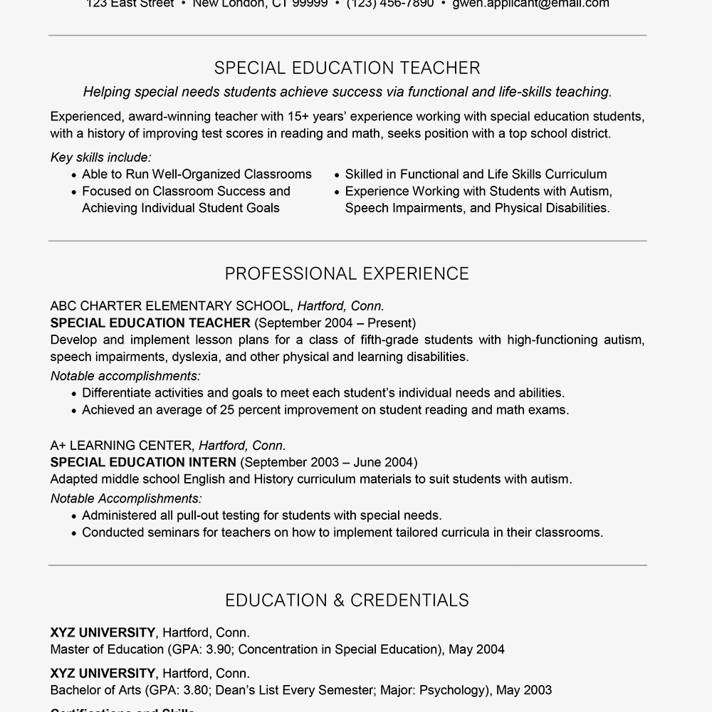resume examples working with special needs