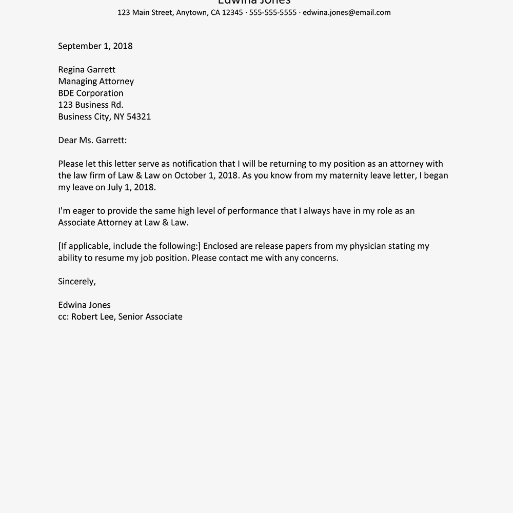 draft maternity leave letter
