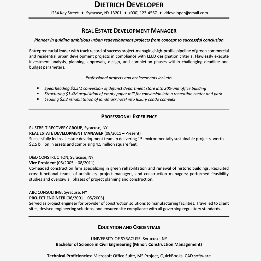 resume that highlights accomplishments
