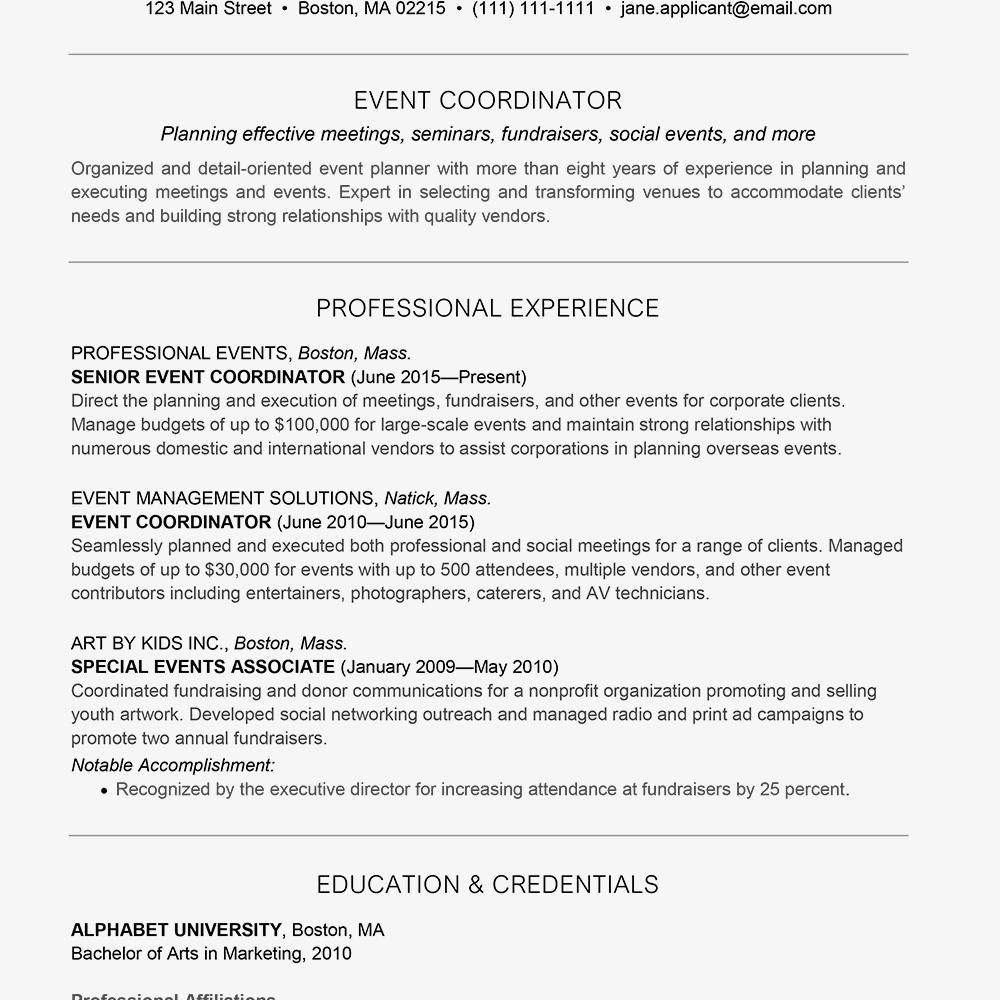 event planner intern resume sample