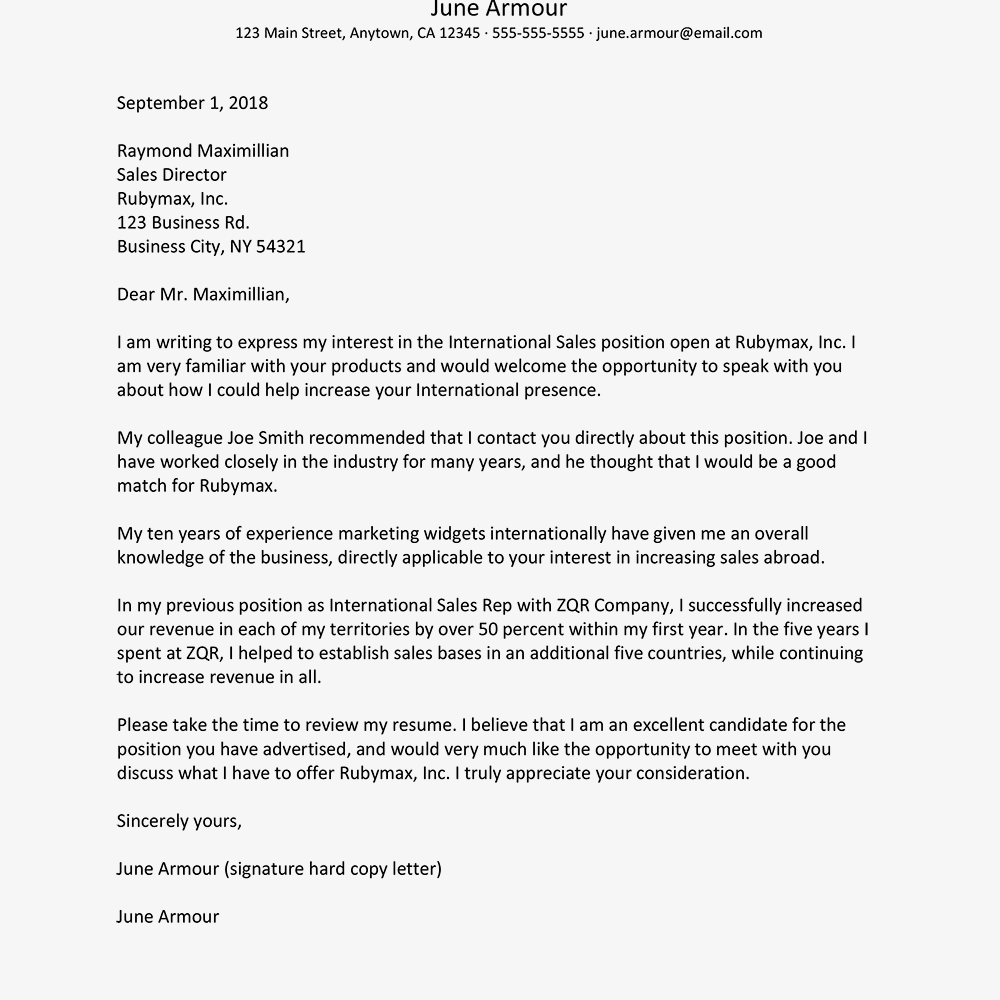 resume cover letter referred by someone