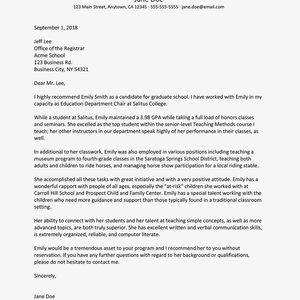 sample grad school letter of recommendation