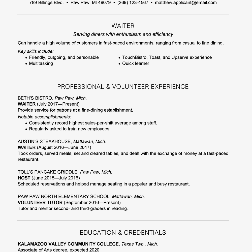 waiter resume cover letter sample